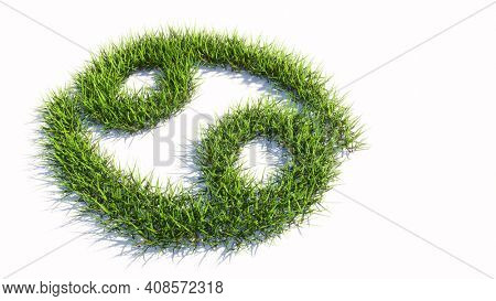 Concept or conceptual green summer lawn grass symbol shape isolated white background, sign of cancer zodiac sign. 3d illustration symbol for  esoteric, the mystic, the power of prediction of astrology