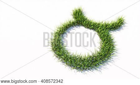 Concept or conceptual green summer lawn grass symbol shape isolated white background, sign of taurus zodiac sign. 3d illustration symbol for  esoteric, the mystic, the power of prediction of astrology