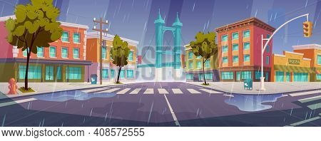 Rain On City Street With Houses, Road With Pedestrian Crosswalk And Traffic Lights. Vector Cartoon R