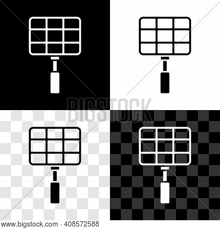 Glowing Neon Barbecue Steel Grid Icon Isolated On Black Background. Top View Of Bbq Grill. Wire Rack
