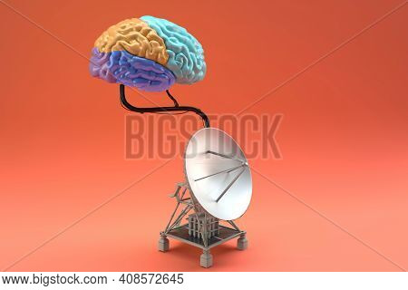 Brain Connected To A Satellite Placed Isolation, 3d Render