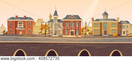 Vintage City Autumn Street With European Colonial Victorian Buildings And Lake Promenade. 19th Centu