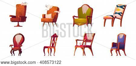 Broken Chairs And Armchairs Old Furniture Isolated Set, Defected Home Interior Objects With Torn Uph