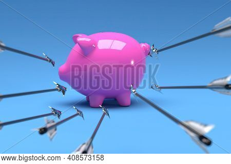 Pig Bank With Arriving Arrow In Blue Background, 3d Render