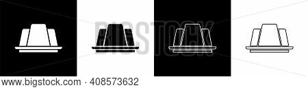 Set Jelly Cake Icon Isolated On Black And White Background. Jelly Pudding. Vector