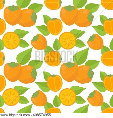 Seamless Background With Persimmon. Vector Bright Ripe Persimmon Fruits With Leaves. Repeat The Whol
