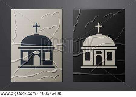 White Santorini Building Icon Isolated On Crumpled Paper Background. Traditional Greek White Houses