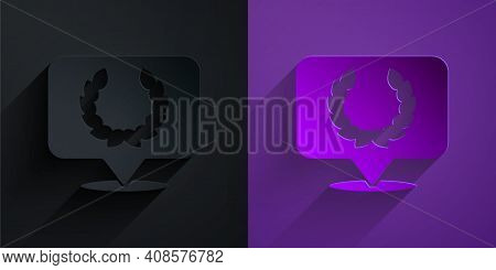 Paper Cut Laurel Wreath Icon Isolated On Black On Purple Background. Triumph Symbol. Paper Art Style
