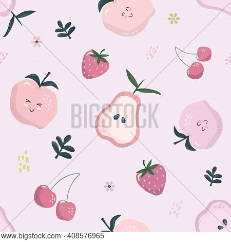 Cartoon Seamless Pattern In Pastel Pink. Summer Fruit Background. Girly. Vector