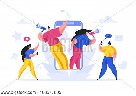 Managers Calling Online New Employees Vector Cartoon Concept. Male And Female Character With Megapho