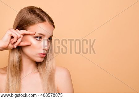 Portrait Of Focused Charming Youth Millennial Magnificent Touch Cheek Eye Look Have Rejuvenation Med