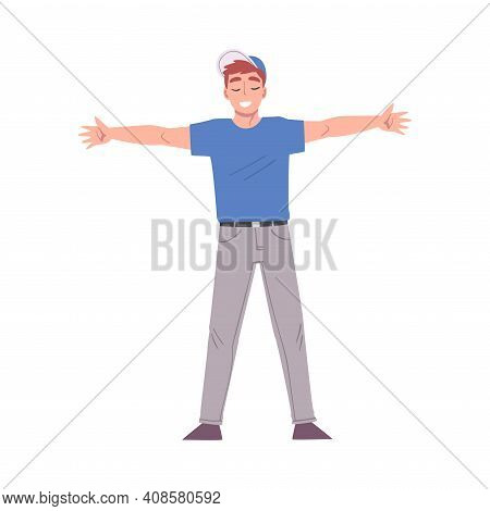 Happy Man Standing With His Arms Outstretched, Welcome, Solidarity, Friendship And Charity Concept C