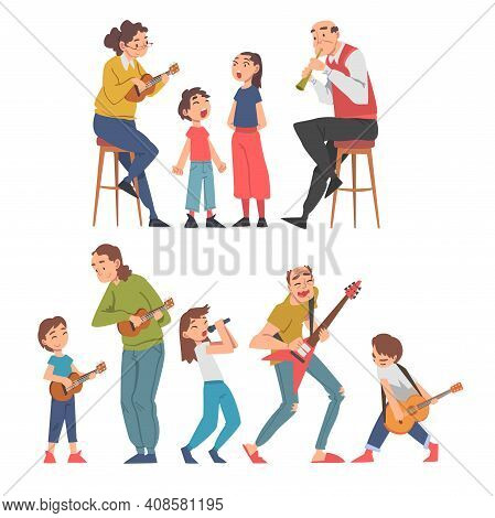Grandparents Playing Musical Instruments With Their Grandchildren Set, Happy Grandpa And Grandma Spe