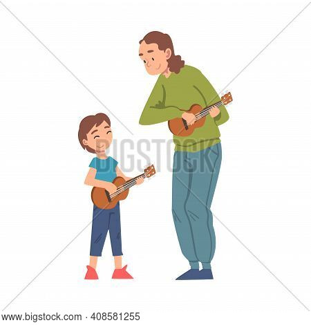 Grandma Playing Ukulele With Her Grandson, Grandparent Spending Good Time With Grandchild Cartoon St