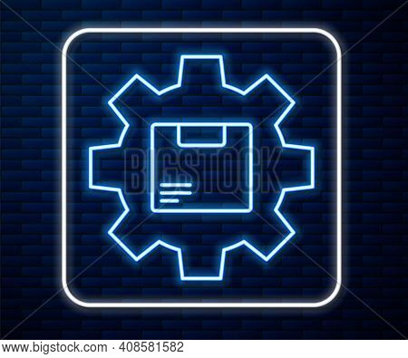 Glowing Neon Line Gear Wheel With Package Box Icon Isolated On Brick Wall Background. Box, Package,