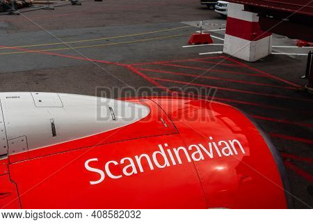 Stockholm, Sweden - August 10, 2019: Engine Of Airplane Of Sas Scandinavian Airliner On Runway. Turb