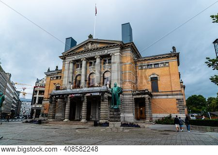 Oslo, Norway - August 10, 2019: National Theater Building Exterior View