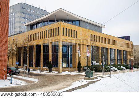 Frankfurt An Der Oder, Brandenburg, Germany - February 14, 2021: The Former Bundesbank Building Has