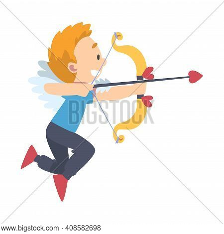 Funny Cupid Boy, Adorable Joyful Kid Angel Cherub In Casual Clothes Shooting With Bow And Arrow Cart
