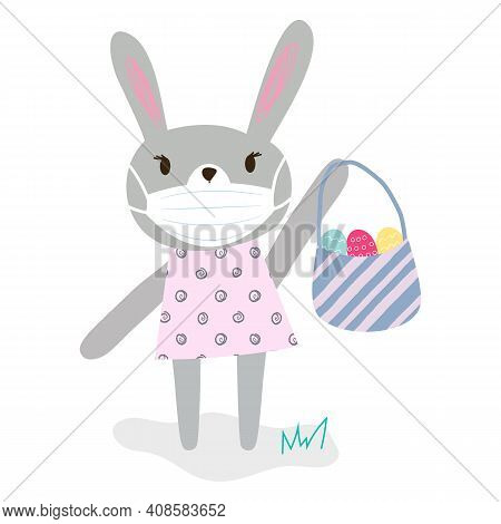 Funny Cartoon Grey Rabbit With Protective Medical Face Mask Holding Basket With Bright Eggs. Happy E
