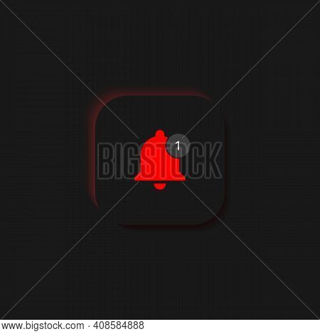 Bell Button With Notification. Get Notified Icon. Vector Illustration On Black Background. Vector Il