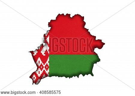 Belarus Border Silhouette With National Flag Isolated On White Background With Copy Space. Contour O