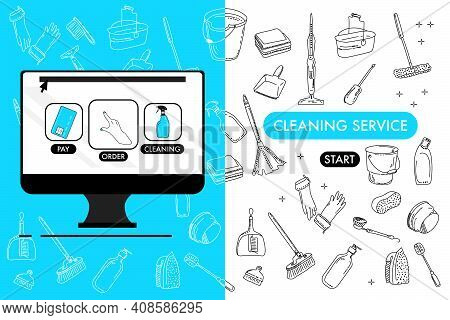 Computer With Cleaning Service Website.washing Supplies For Floor,windows And Dust Removing.find And