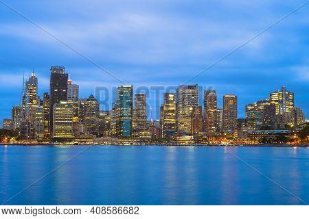Night View Of Sydney Cbd (central Business District), Australia