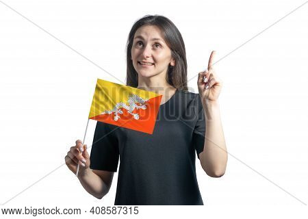 Happy Young White Woman Holding Flag Of Butane And Points Thumbs Up Isolated On A White Background.