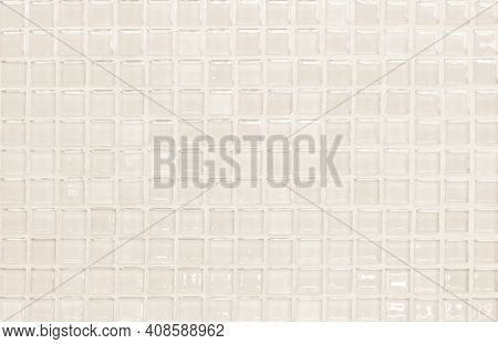 Cream Pastel Ceramic Wall And Floor Tiles Abstract Background. Design Geometric Mosaic Texture Decor
