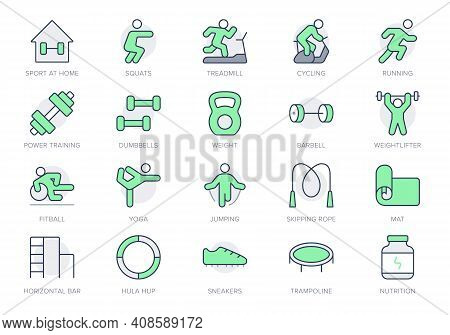 Sport At Home Simple Line Icons. Vector Illustration With Icon - Weight Workout, Jogging, Yoga, Squa