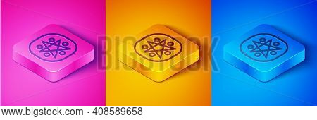 Isometric Line Pentagram In A Circle Icon Isolated On Pink And Orange, Blue Background. Magic Occult