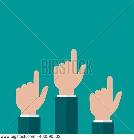 Hands Point Up Isolated On Blue Background. Navigation, Pointing, Showing. Hint, Tint Concept. Goal