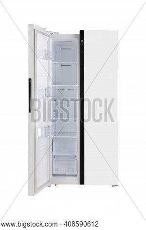 Major Appliance - Front View White Left Open Door Two-door Side By Side Refrigerator Fridge On A Whi