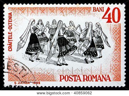 Postage stamp Romania 1966 Folk Dancers of Oltenia