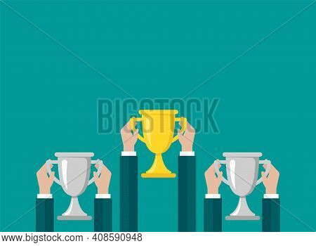 Hands With Gold Trophy, Winning Cup Isolated On Blue Background. First Place, Award Bowl. Symbol Of