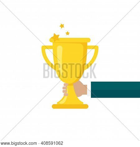Hand With Gold Trophy, Winning Cup Isolated On White Background. First Place, Award Bowl. Symbol Of