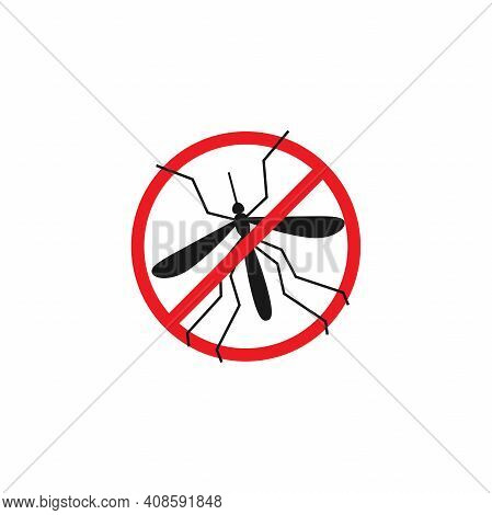 Mosquito In Red Crossed Circle Icon. Flat Vector Pictogram Isolated On White Background. Repellent S
