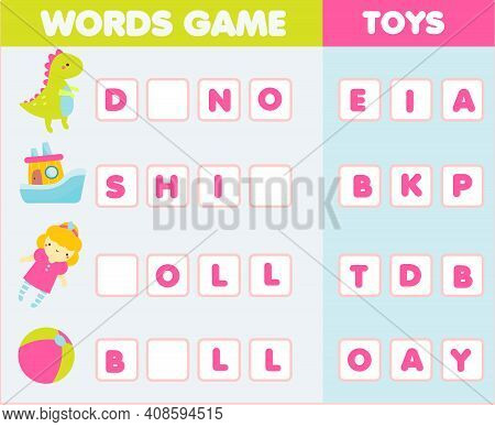 Educational Game For Children. Word Puzzle Kids Activity. Learn English Vocabulary Fun For Toddlers