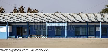 View Of The Building Of The Airport Francistown From The Airfield. Sign Airport Francistown And The
