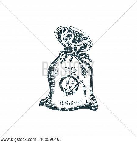 Lavender Sachet Sketch In Vector. Perfumed Bag.