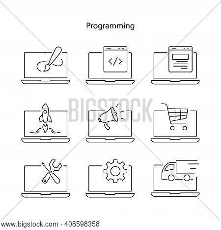Programming Icon Set Isolated On White Background From Programming Collection. Programming Icon Set