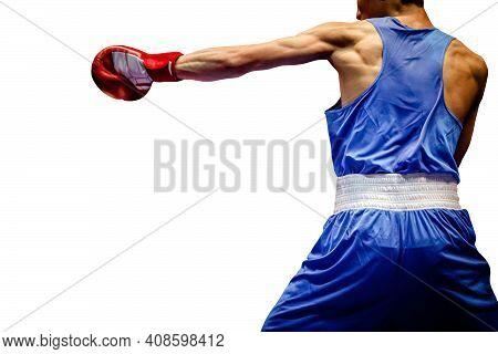 Boxer In Blue Shorts And Shirt Direct Hit On White Background