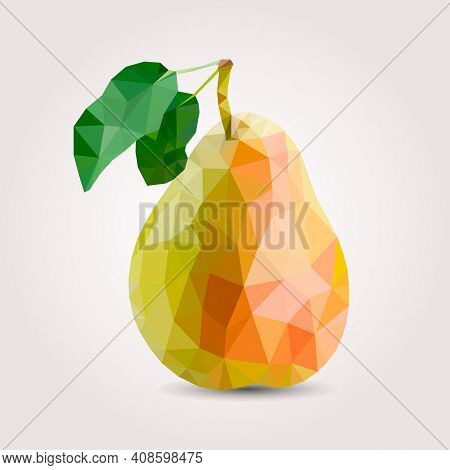 Fresh, Nutritious And Delicious Pear. Strawberry Blossom. Label Design Elements. Illustration. Fruit