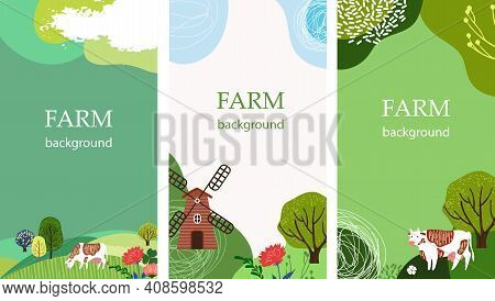 Set Of Agricultural Backgrounds. Abstract Design. Cows In The Pasture. Social Media Templates.