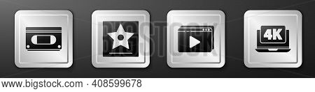 Set Vhs Video Cassette Tape, Hollywood Walk Of Fame Star, Online Play Video And Laptop With 4k Video