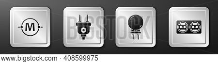 Set Electric Circuit Scheme, Electric Plug, Light Emitting Diode And Electrical Outlet Icon. Silver