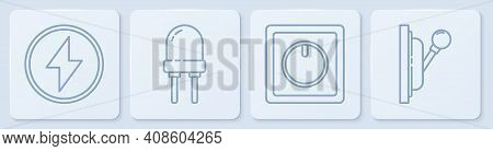 Set Line Lightning Bolt, Electric Light Switch, Light Emitting Diode And Electrical Panel. White Squ