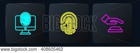 Set Line Monitor With Fingerprint, Palm Recognition And Fingerprint. Black Square Button. Vector