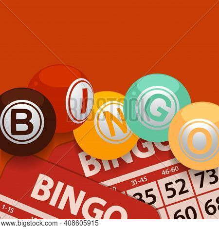 Bingo Balls With Letters Stating The Word Bingo In Vintage 70s Colours Over Bingo Cards And Retro Re